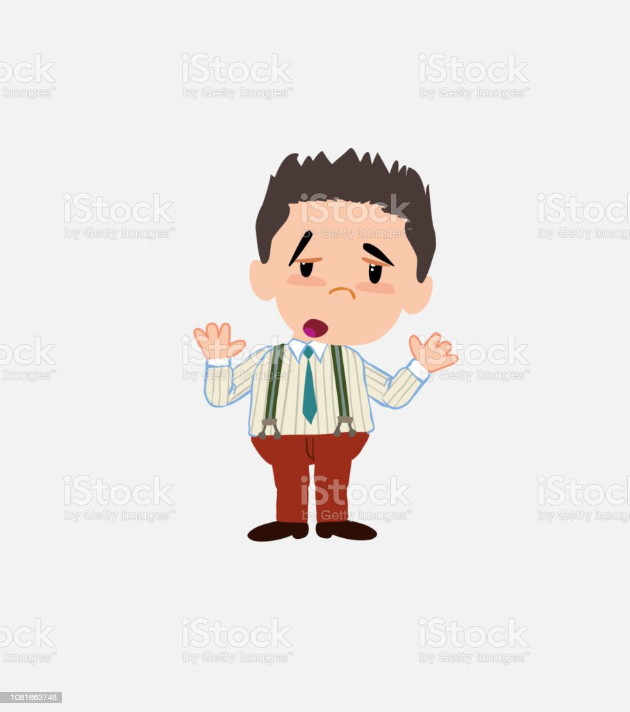Businessman in smart casual style makes a gesture of tired resignation. vector art illustration
