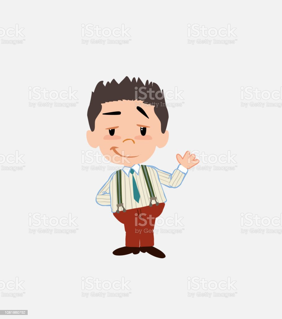 Businessman in smart casual style waving with a dreamy expression. vector art illustration