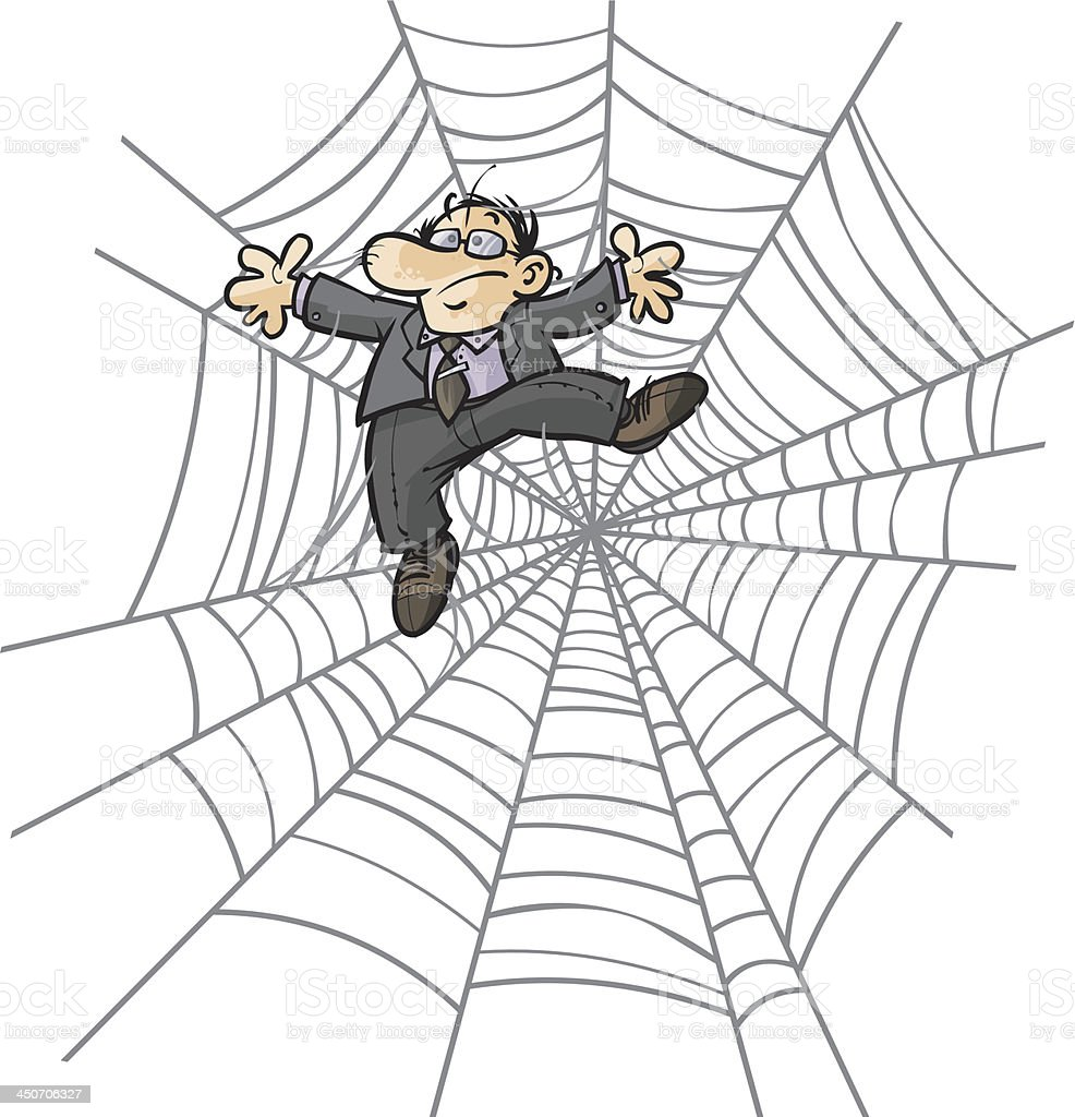 Businessman in Spider web. royalty-free stock vector art