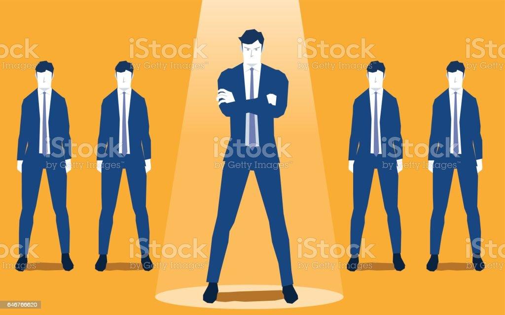 Businessman in spotlight vector art illustration