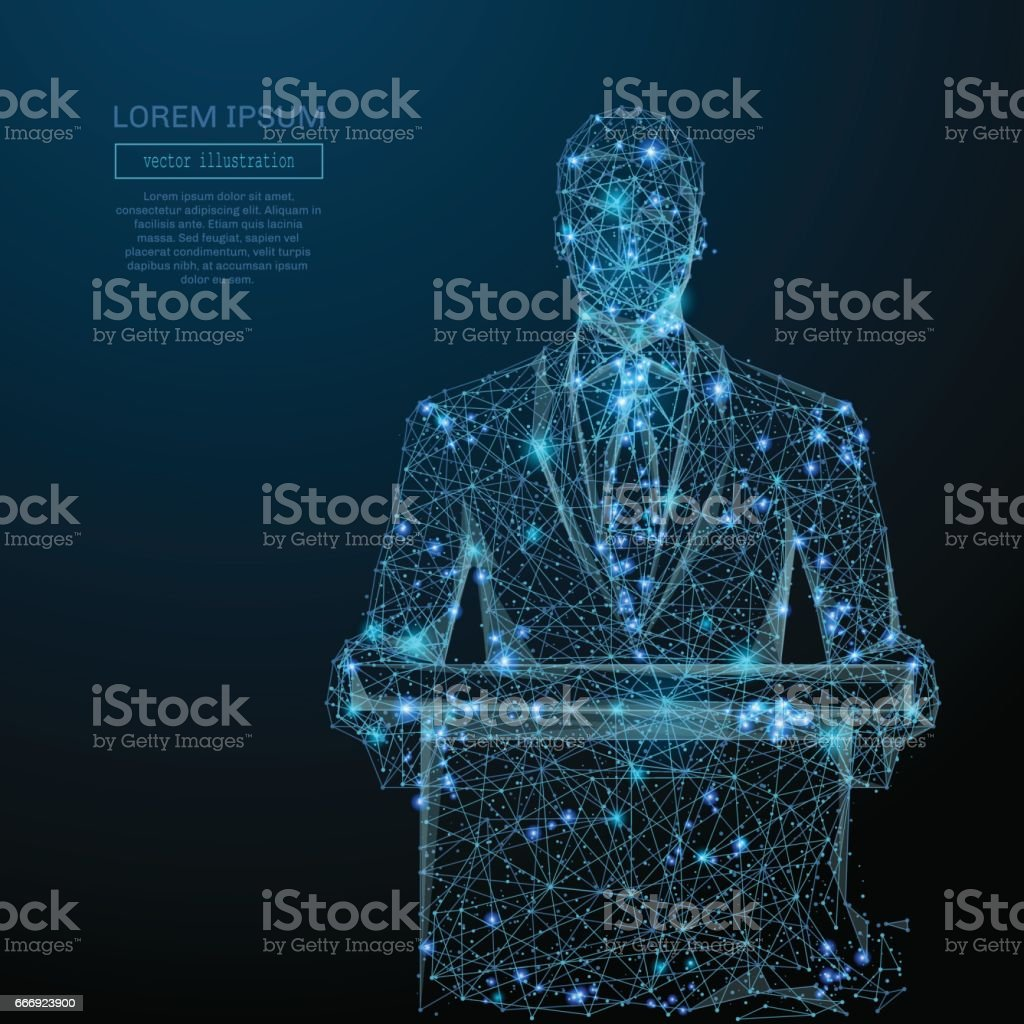 businessman in suit blue vector art illustration