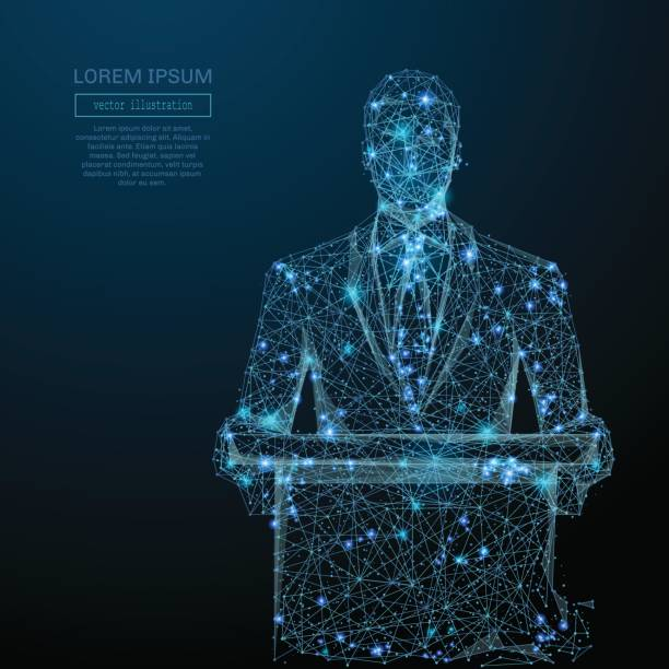 businessman in suit blue vector art illustration