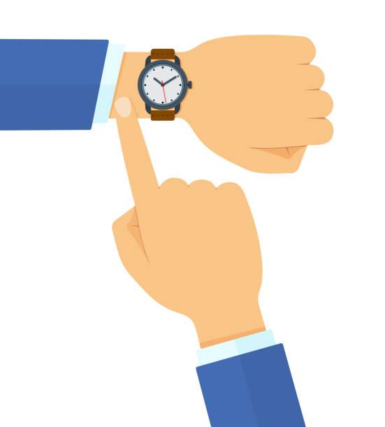bildbanksillustrationer, clip art samt tecknat material och ikoner med affärsman i kostym kontrollera tid på sin klassiska titta platt vektor illustration - armbandsur