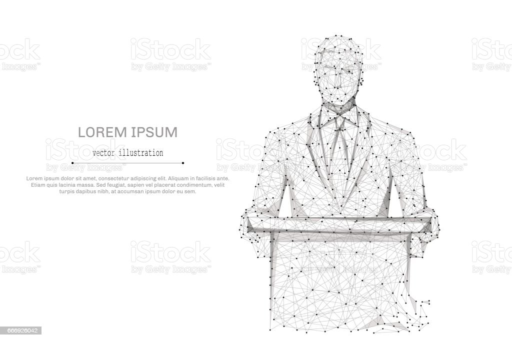 businessman in suit gray vector art illustration