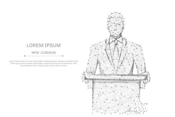 ilustrações, clipart, desenhos animados e ícones de homem de negócios no terno cinzento - político