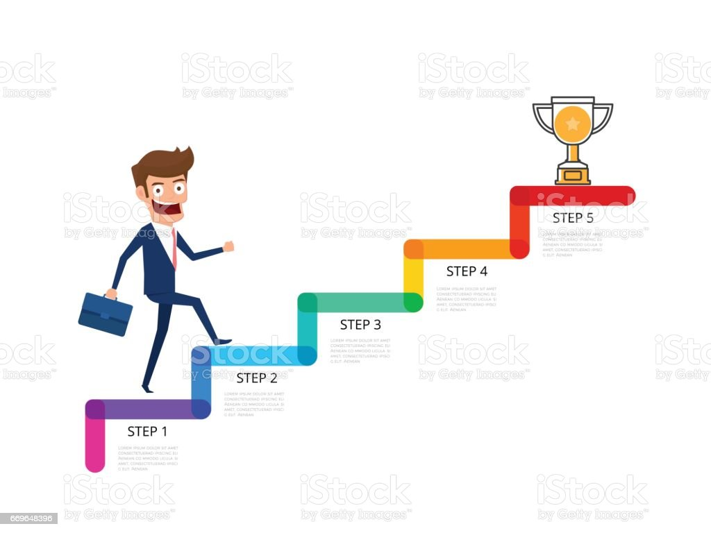 Businessman In Suit Holding Briefcase Walking On Stair Step To Trophy And  Success. Staircase To
