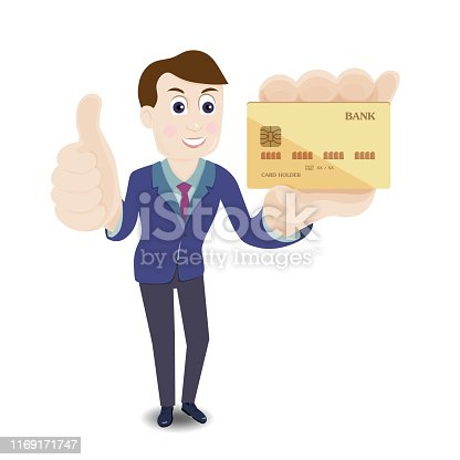 Businessman in suit holding credit card and showing thumbs up. vector illustration.
