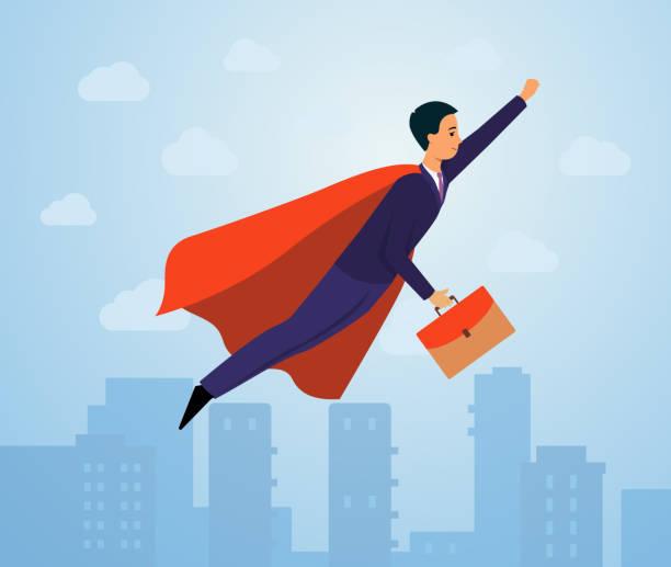 ilustrações de stock, clip art, desenhos animados e ícones de businessman in superhero costume and business suit with suitcase flying in the city sky in hero pose - portrait of confident business