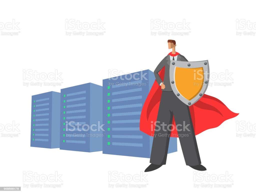 Businessman in superhero red cape holding a shield in front of servers. Data protector. Cartoon character. Vector illustration. Isolated on white background.