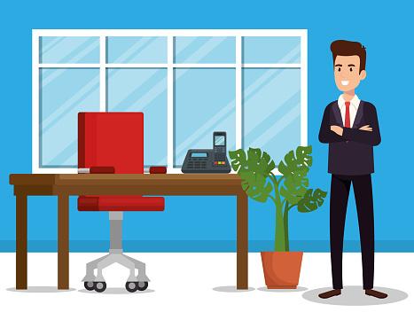 Affärsman I Office Avatar Karaktär-vektorgrafik och fler bilder på Administratör