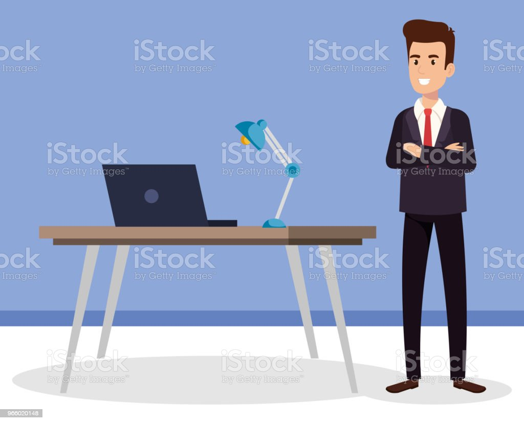 businessman in the office avatar character - Royalty-free Administrator stock vector