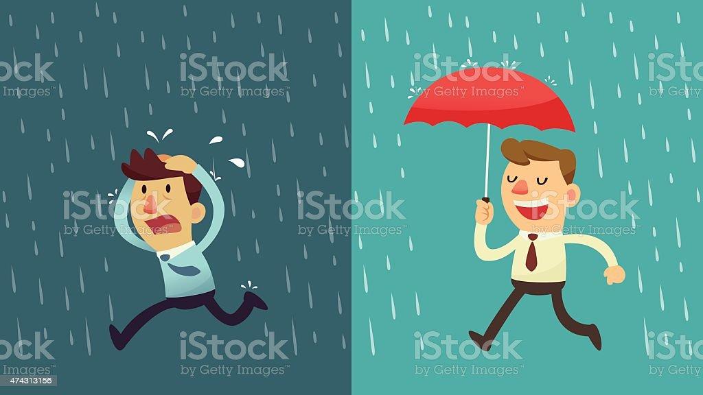 Empresário na chuva-Preparação - ilustração de arte em vetor
