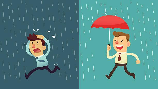 Geschäftsmann im Regen – Vorbereitung – Vektorgrafik