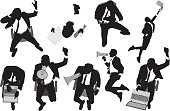 Businessman in various actions