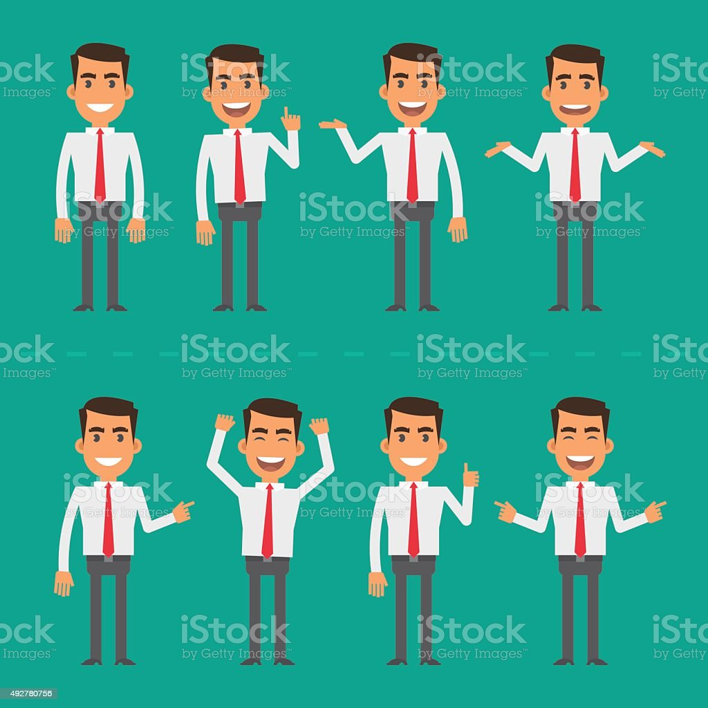 Businessman in various poses vector art illustration