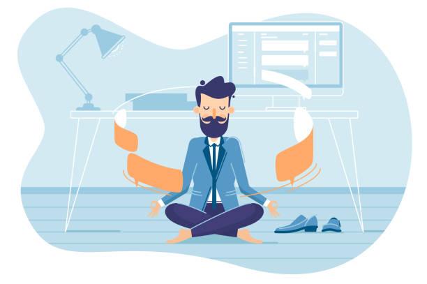 ilustrações de stock, clip art, desenhos animados e ícones de businessman in working balance of zen - portrait of confident business