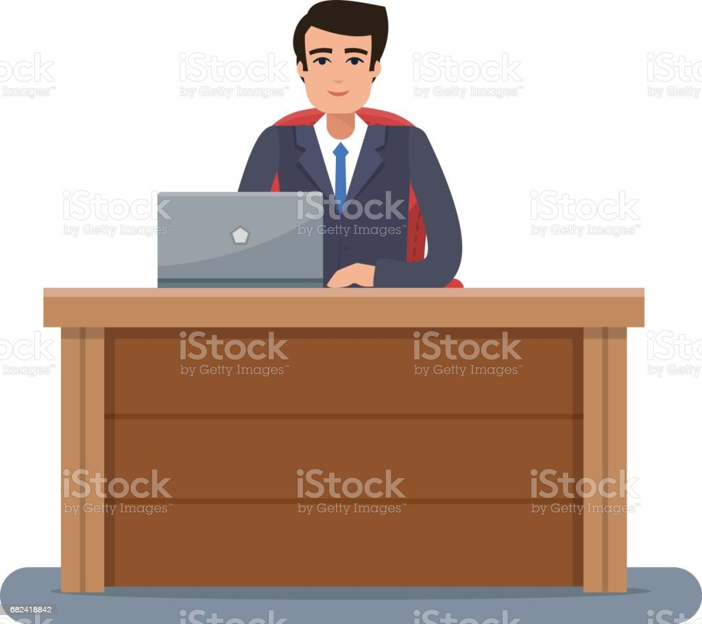 Businessman in workplace in office. royalty-free businessman in workplace in office stock vector art & more images of adult