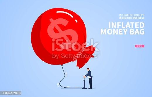 Businessman inflates his money bag