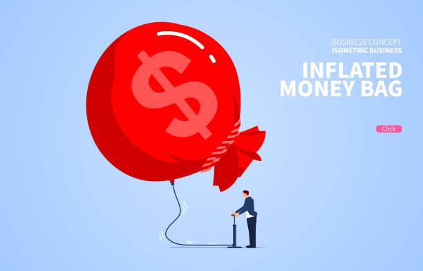 illustrations, cliparts, dessins animés et icônes de l'homme d'affaires gonfle son sac d'argent - inflation