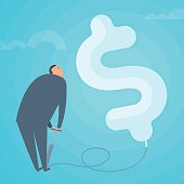 Businessman inflating the dollar balloon. Business concept flat vector illustration.