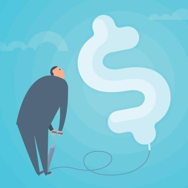 illustrations, cliparts, dessins animés et icônes de homme d'affaires, gonfler le ballonnet de dollar. illustration de vecteur plat business concept. - inflation