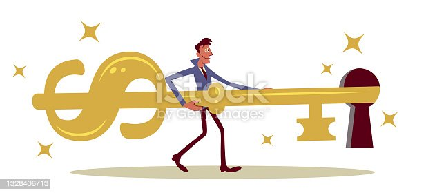 istock Businessman inserting the big golden Dollar-shaped key into the keyhole to lock or to unlock 1328406713