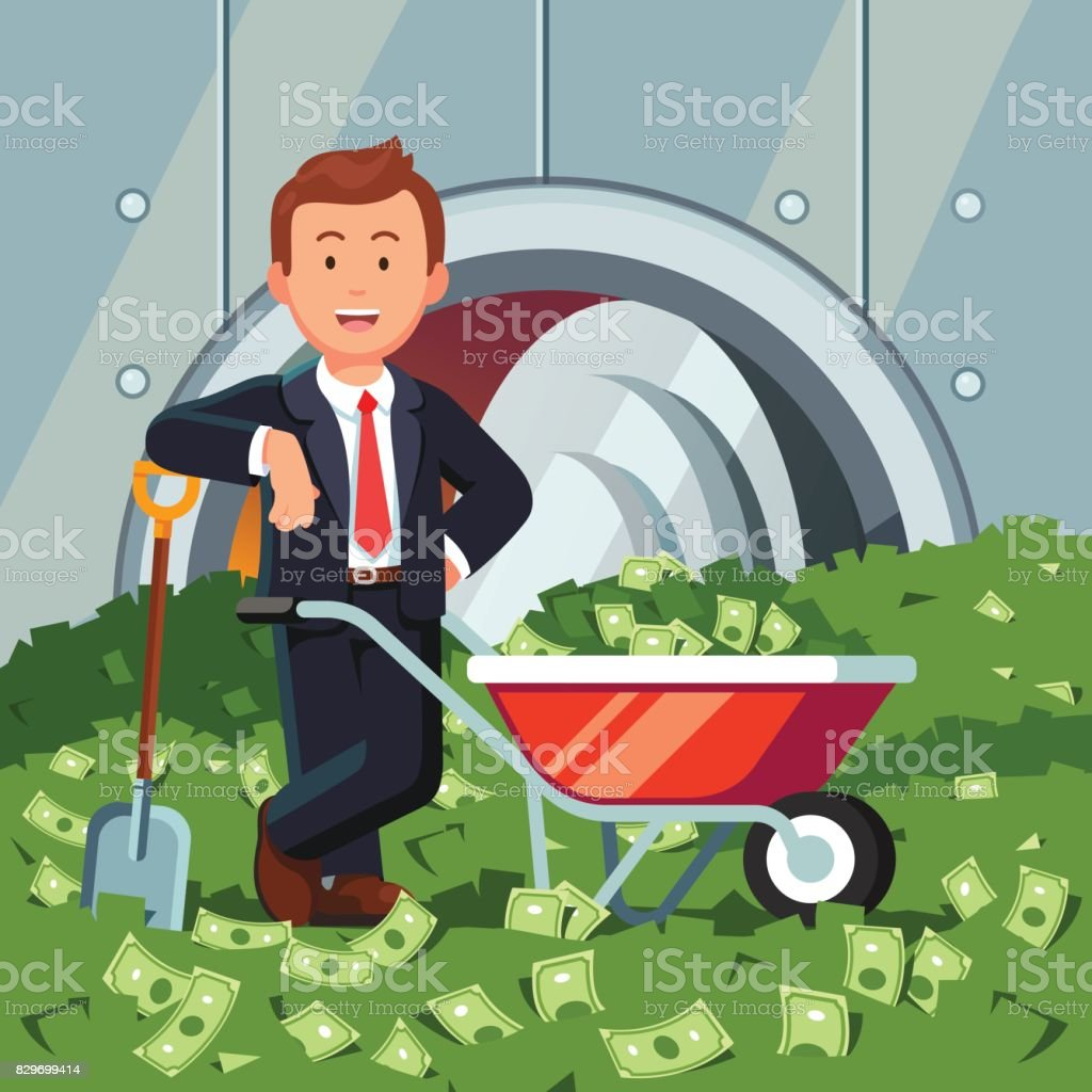 Businessman inside bank vault stands on cash pile vector art illustration