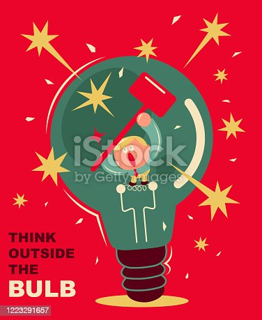 istock Businessman inside of a giant light bulb using a hammer to break the bulb, concept of thinking out of bulb (box) 1223291657