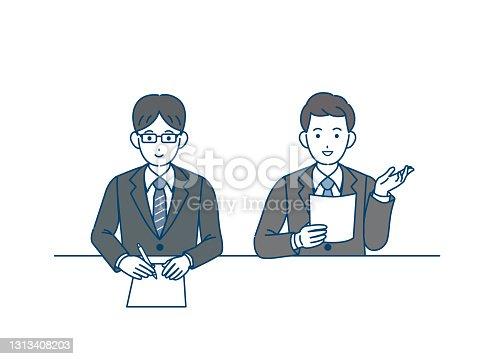 istock Businessman interviewer illustration 1313408203