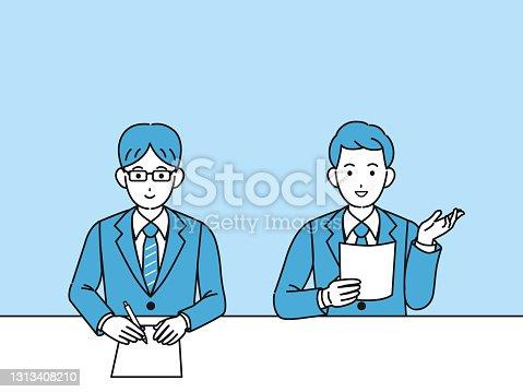 istock Businessman interviewer illustration 1313408210