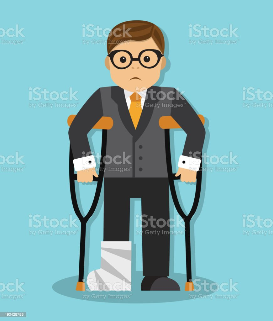 businessman invalid vector art illustration