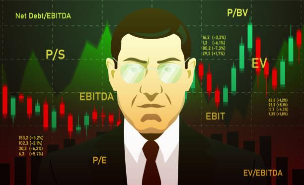ilustraciones, imágenes clip art, dibujos animados e iconos de stock de empresario, inversor, analista o bróker trading stocks, antecedentes oscuros - corredor de bolsa