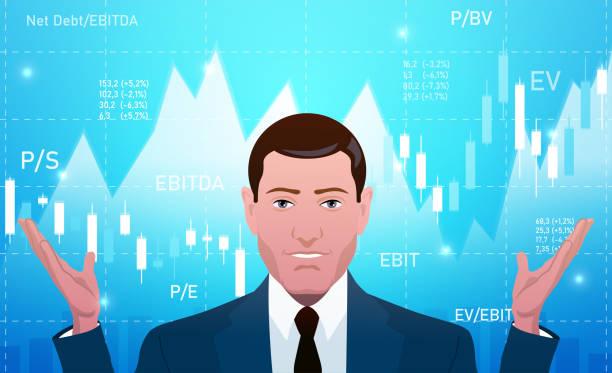 ilustraciones, imágenes clip art, dibujos animados e iconos de stock de empresario, inversor, analista o bróker trading stocks - corredor de bolsa