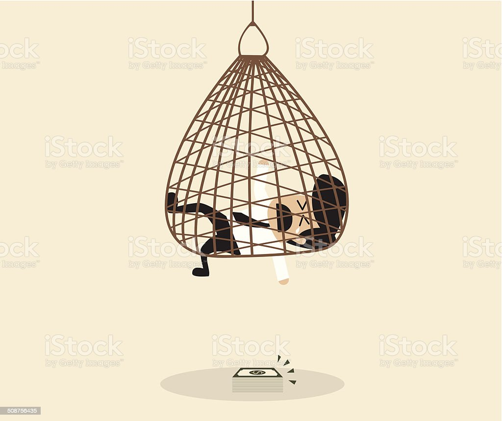 Businessman is caught in a net trap vector art illustration