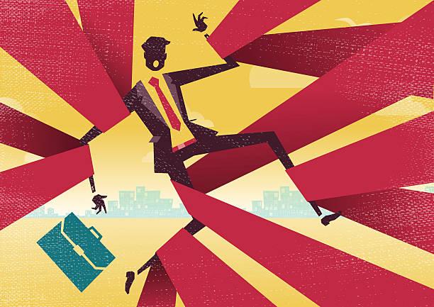 Businessman is caught up in Bureaucratic Red Tape. vector art illustration