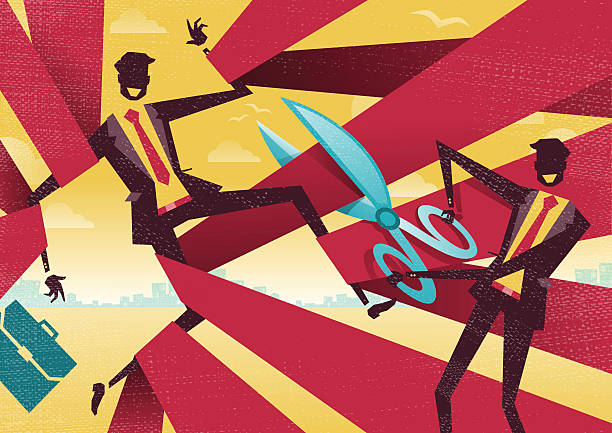 Businessman is cut free from Bureaucratic Red Tape. vector art illustration