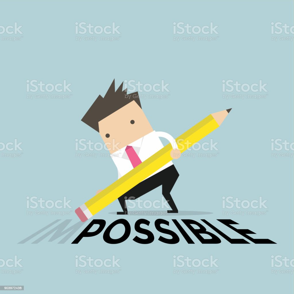 Businessman is deleting wording 'im' from impossible with eraser on floor. vector art illustration