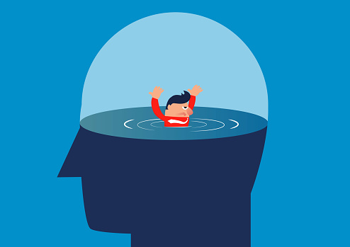Businessman is drowned in the brain