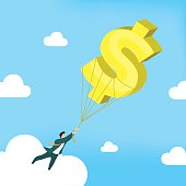 Businessman is flying with dollar sign balloon