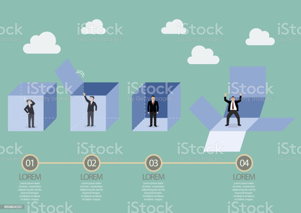 Businessman is getting out of the box infographic vector art illustration