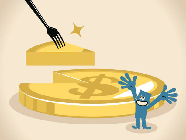 Businessman is given a slice of money on a fork and dollar sign coin pie (cake) with slice missing vector art illustration