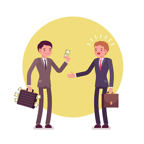 Businessman is giving money to another man Businessman is giving money to another man. Two men are in a formal wear against green background. Cartoon vector flat-style concept illustration bribing stock illustrations