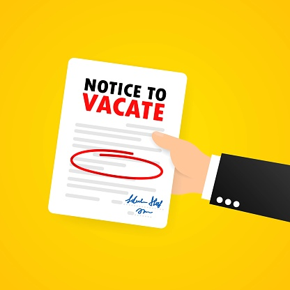 Businessman is holding legal documents. Eviction Notice Form. Human resource management concept. Vector on isolated background. EPS 10