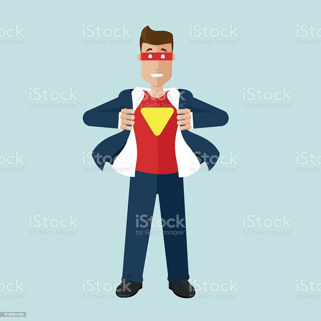 Businessman is in realy a superhero vector art illustration