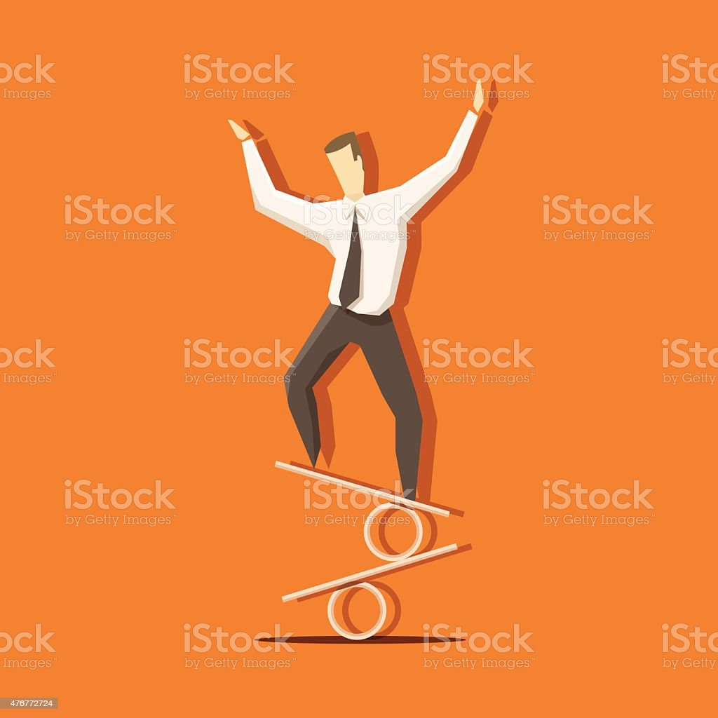 Businessman is keeping balance on percent sign vector art illustration