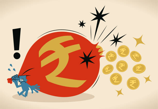 Businessman is losing money (Indian Rupee Coin) due to his big torn sack bag vector art illustration