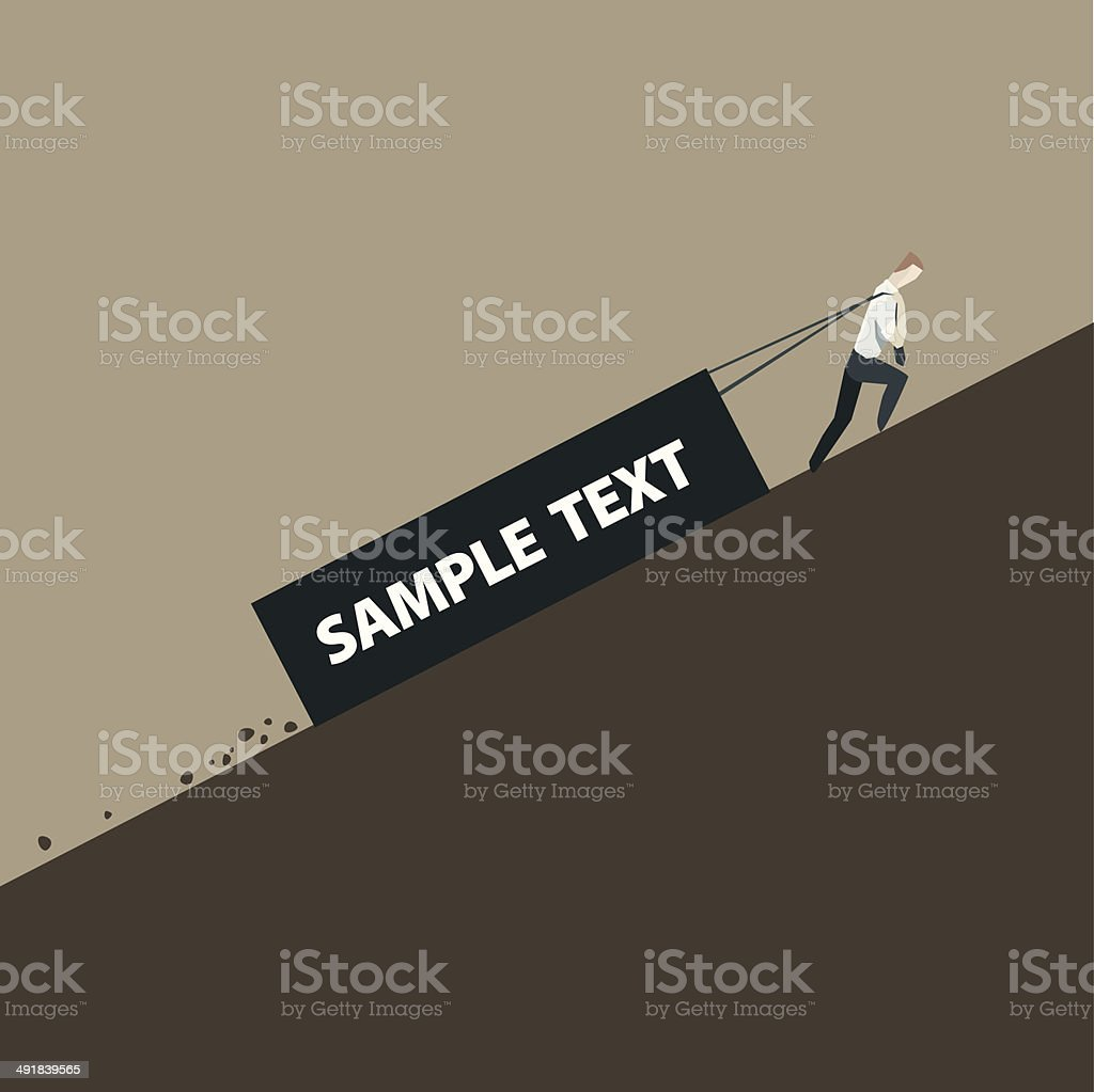 Businessman is pulling a heavy load vector art illustration