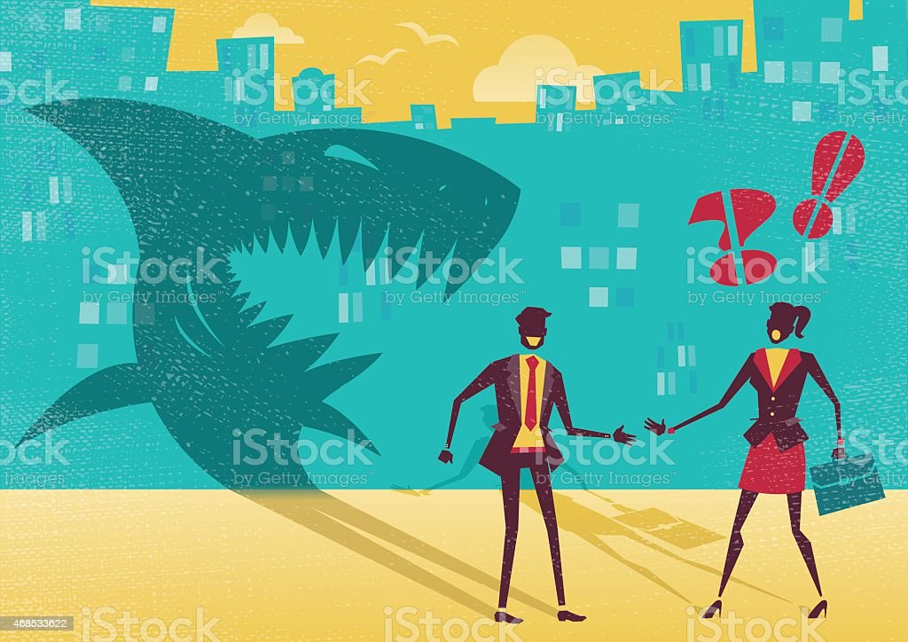 Empresario es realmente un Shark in disguise. - ilustración de arte vectorial