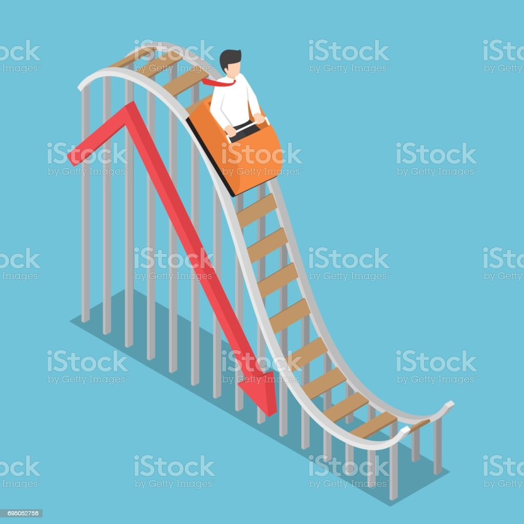Businessman is Riding on a Roller Coaster with Falling Graph