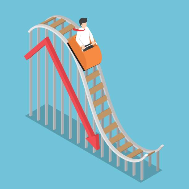 businessman is riding on a roller coaster with falling graph - roller coaster stock illustrations